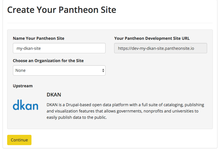 Pantheon new site form