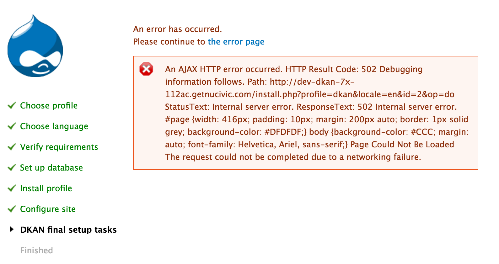 An AJAX HTTP error occurred. HTTP Result Code: 502 Debugging information follows...