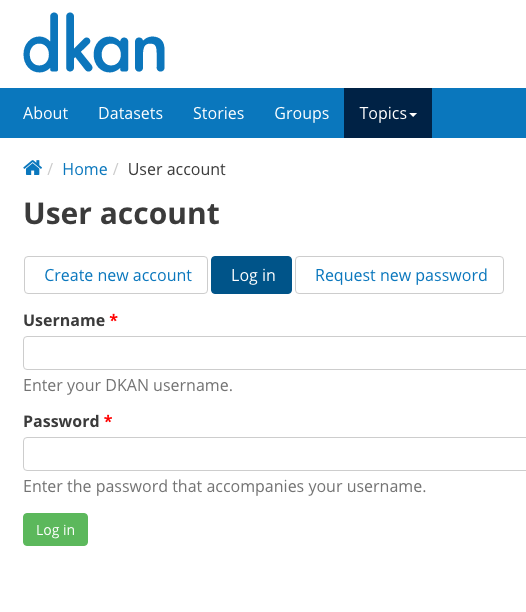 Sample username and password entry page on a DKAN site.