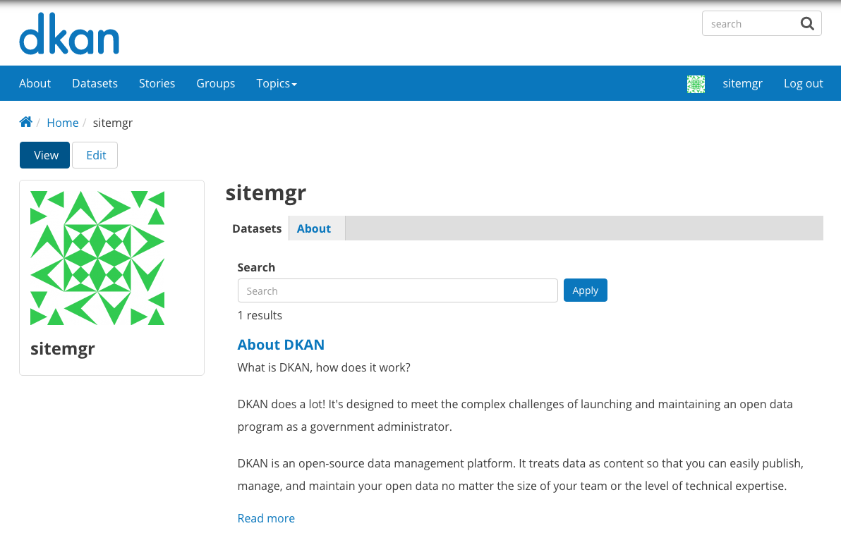 "Profile page for a user named ""sitemgr"" displaying their login information and list of uploaded content."