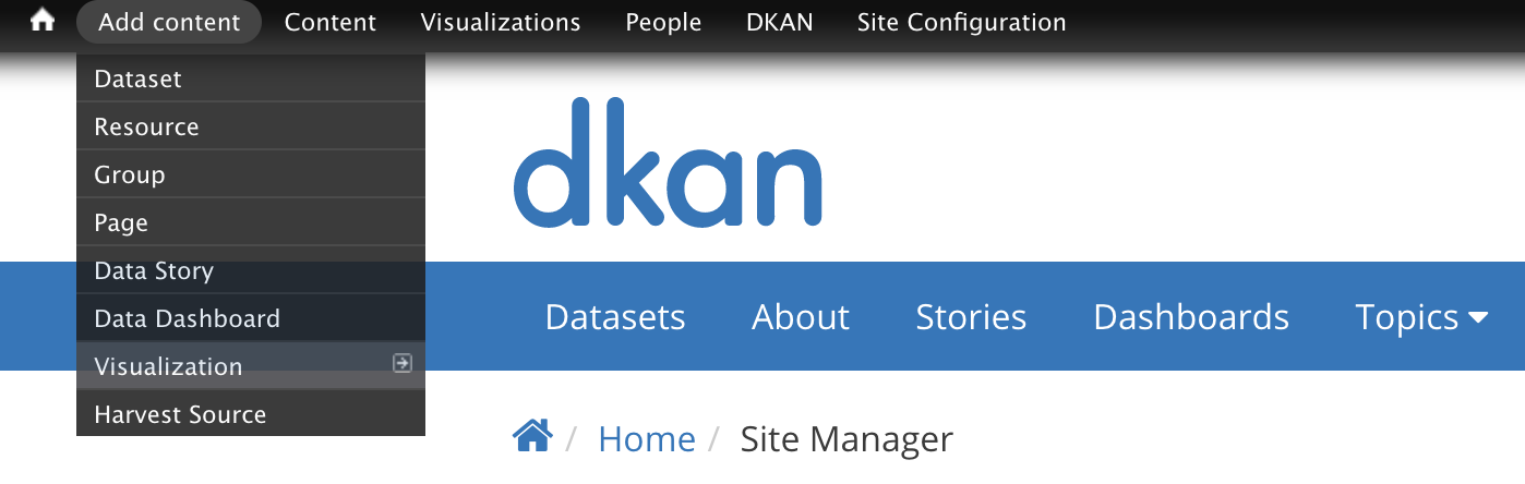 """An image displaying the location of the """"Add content"""" menu on the DKAN navigation bar."""