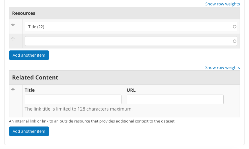 This screencap displays the portion of the page for adding new resources and related content to a Dataset.