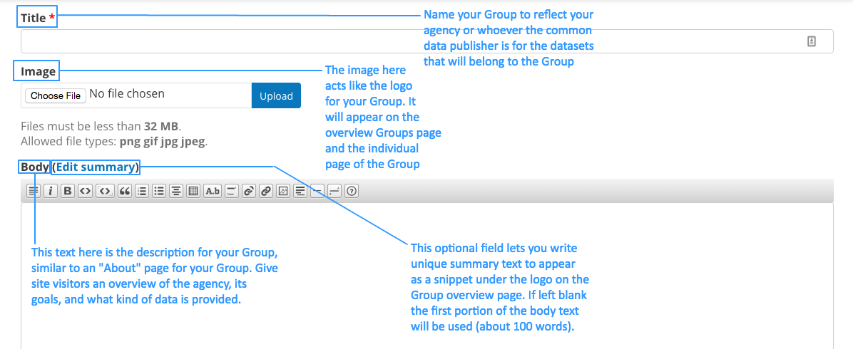This screencap displays pointers on what to do when adding a Group to DKAN.