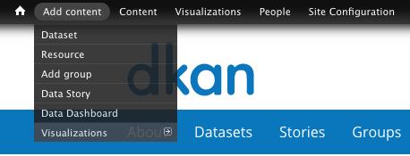 "The ""Add Content"" dropdown on the DKAN admin menu."
