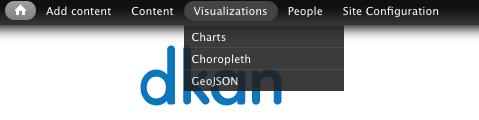 "The ""Visualizations"" dropdown on the DKAN admin menu."
