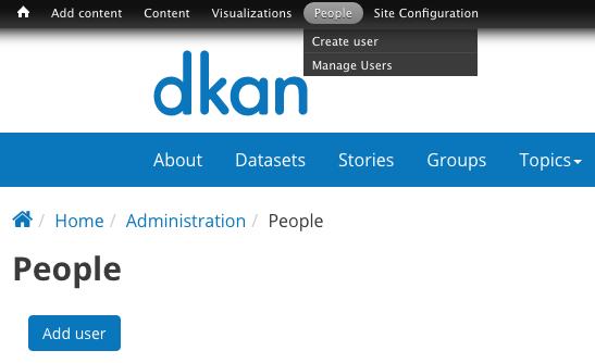 """The """"People"""" menu item on the admin menu on DKAN."""