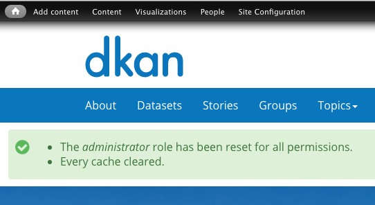 An example of a successfully cleared cache in DKAN.