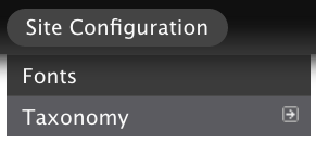 """The """"Site Configuration"""" menu and the Fonts selector."""
