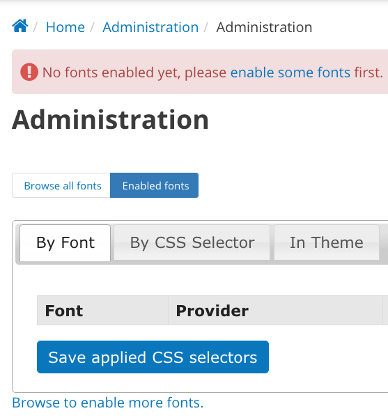 This screencap shows the error message you'll receive if no fonts have been enabled.