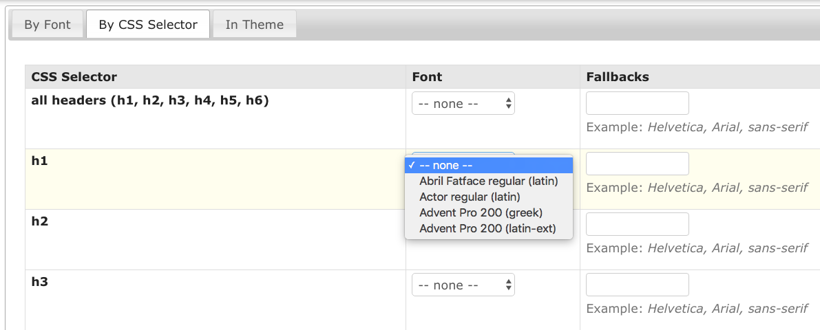 This screen shows what you'll see when selecting which fonts should be assigned to which CSS selectors.