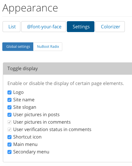 """The """"global settings"""" display in DKAN, showing a full list of appearance options."""