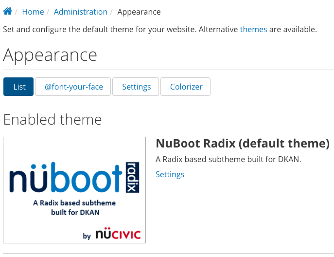 """The """"theme settings"""" display in DKAN, showing the current theme of NuBoot Radix."""