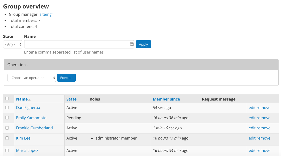 """The """"Group Overview"""" screen showing Group membership."""