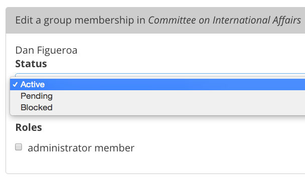 This screencap shows what you'll see when editing a user's Group membership.