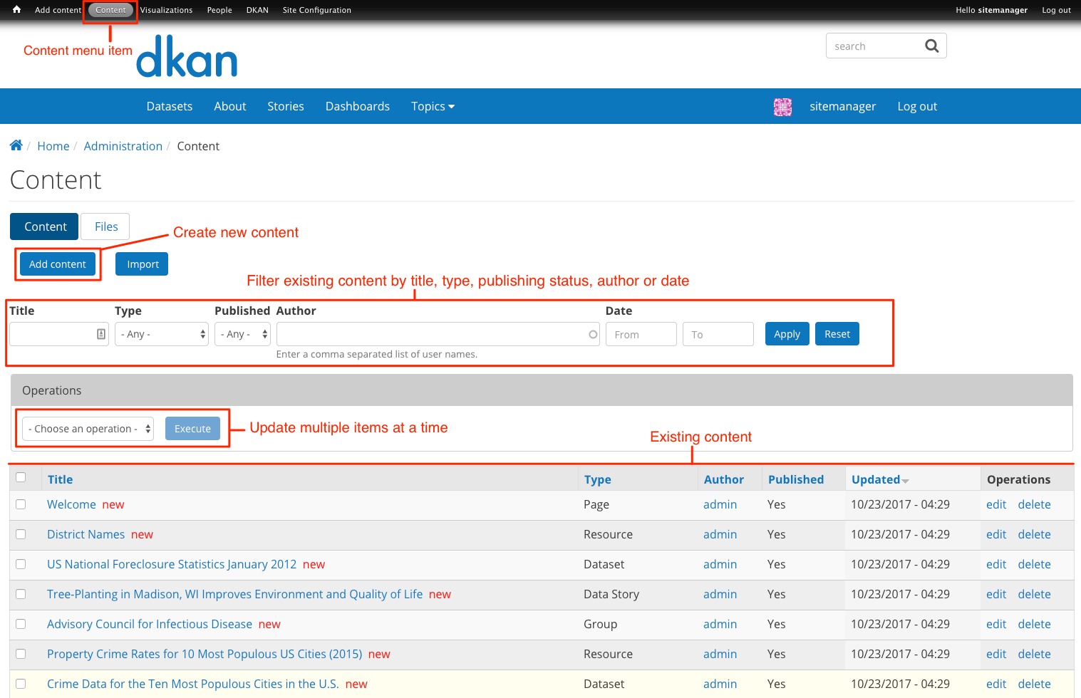 content administration page highlighting admin menu option, add content button, search, and content list