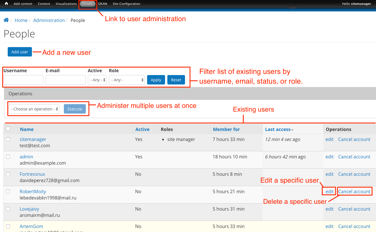 Screen shot of the user administration page.